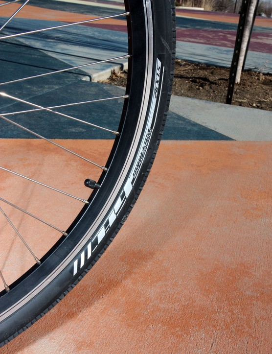 The Bontrager H4 tires have been bombproof so far, as they perhaps should be given the generous levels of reinforcement included in the construction  The siped slick tread is very sketchy in snow, though