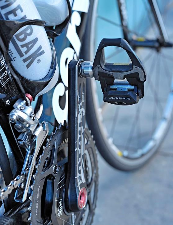 Tyler Farrar (Garmin-Cervélo) sticks with Shimano Dura-Ace SPD-SL pedals but upgrades to the carbon model for 2011.