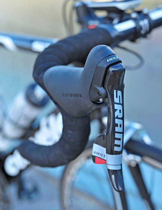 The team version of SRAM's Red DoubleTap levers sport a bigger logo than usual - presumably for finish line photos.
