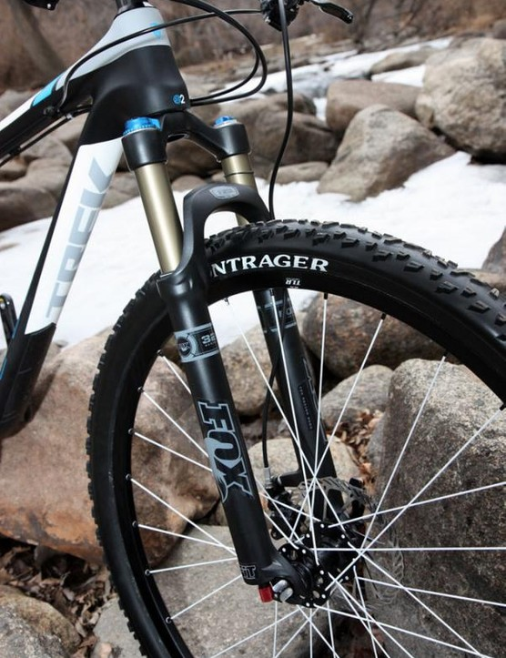 The Fox Racing Shox 32 F29 FIT RLC fork features a custom offset crown that mimics the trail of a standard 26