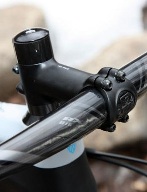 The Bontrager Race X Lite forged aluminum stem is light but could stand a bit more torsional stiffness