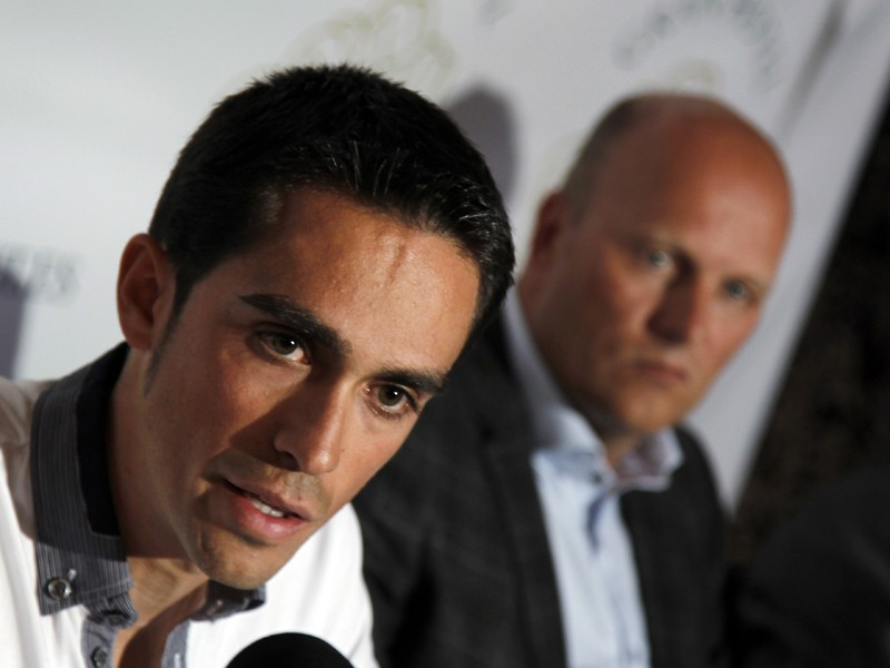 Alberto Contador and his director Bjarne Riis