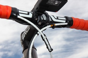 The Shimano Dura-Ace Di2 sprint shifters require an extra crossover wire but the installation here is done very cleanly