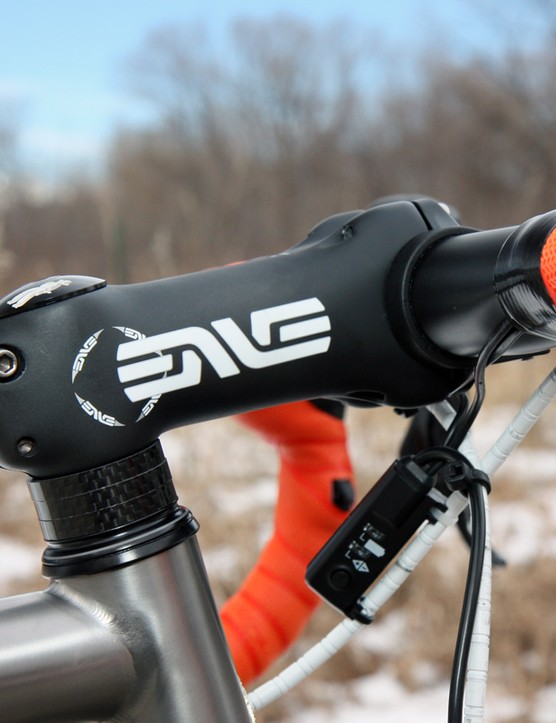 The Enve Composites carbon stem is light and looks clean