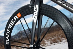 Enve's 1.0 carbon road fork is fitted up front