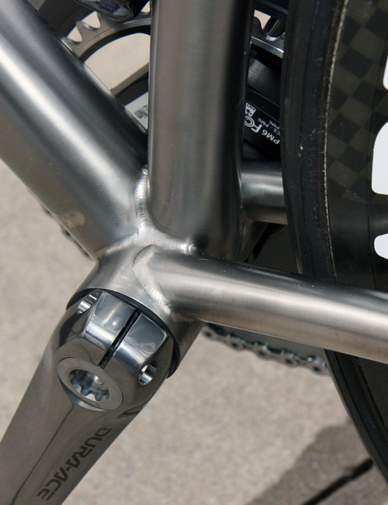The press-fit bottom bracket shell allows the chain stays to be set wider for extra rear triangle stiffness