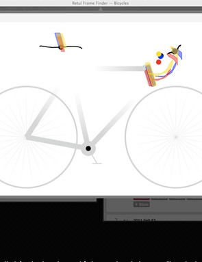 The black lines and dots represent a client's existing bike fit profile as recorded using Retül's ingenious Zin wand.  The colored blocks represent the allowable adjustment ranges for three different bikes that were selected from Retül's online database.  Which one fits best?  It's easy to determine with just a few clicks