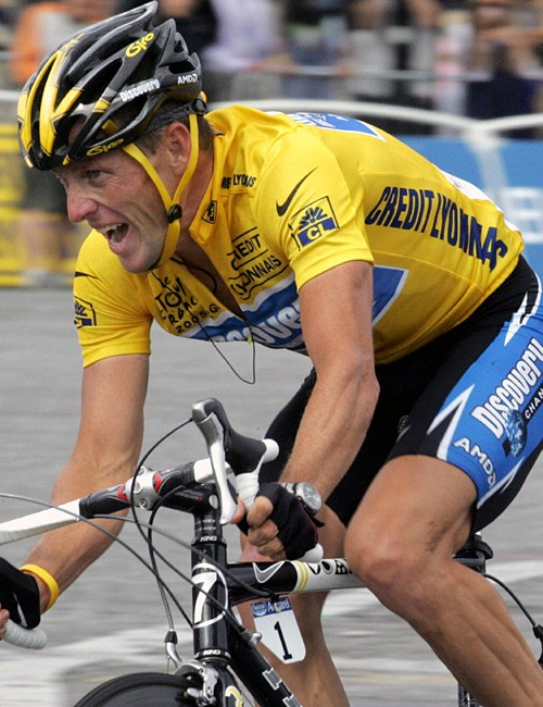 Racing in the 2005 Tour de France, the last one that he won