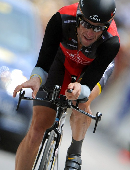 Riding his last Tour de France time trial in 2010