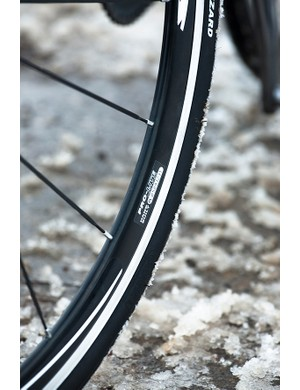 The Schwalbe Blizzard's come with a Kevlar layer for puncture protection, but grip isn't inspiring over so-so wintry surfaces