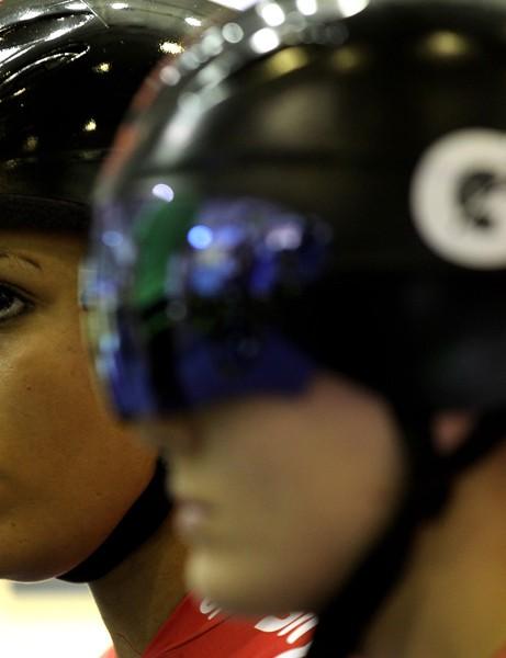 Shanaze Reade and partner Victoria Pendleton before their team sprint