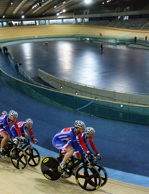 Cyclists test out the track for the first time