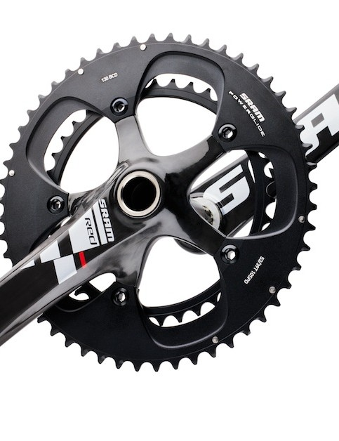 The Black RED cranks feature black chainrings, but the same arm logos as the standard group