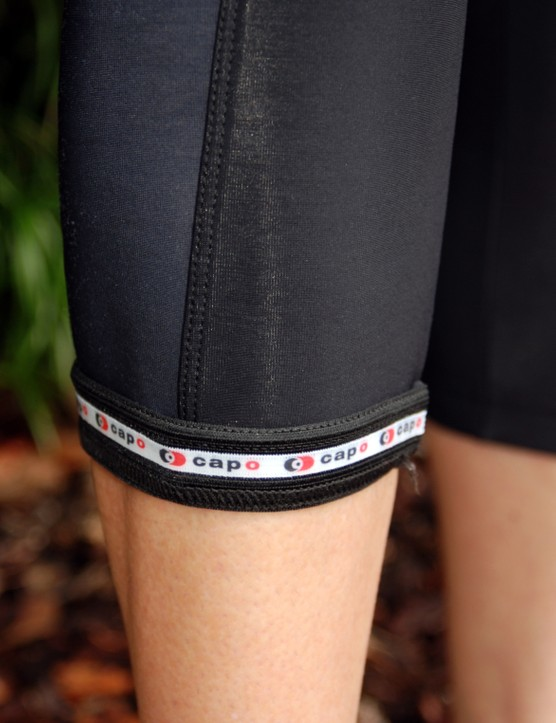 A silicone gripper helps keep the Cortina Roubaix knicker from riding up