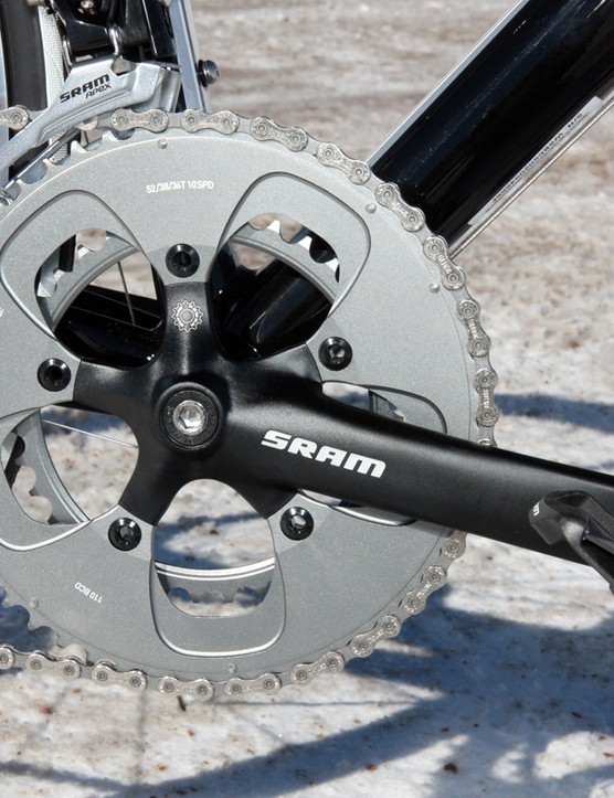 SRAM's S100 crank is an entry-level solid-forged aluminum piece with an internal bearing bottom bracket but Specialized spruces it up with stiffer chainrings from SRAM's top-end Red group