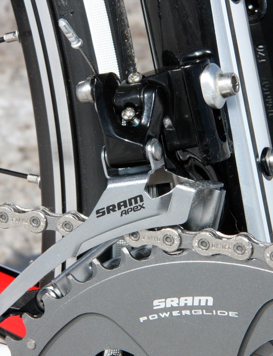 The SRAM Apex front derailleur is virtually identical to pricier Rival and Force models