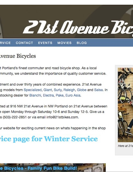 21st Avenue Bicycles home page