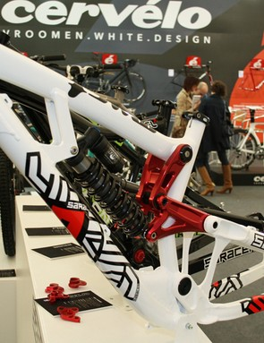 Of course, the Saracen Myst is also available to lesser riders. This is the production frameset, with Fox Van R shock