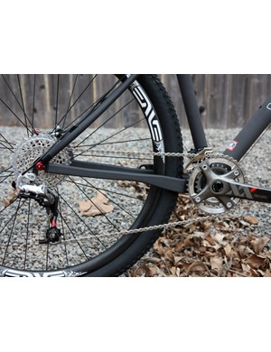 Flattened sections on the chain stays of Crumpton's new 29er presumably provide a bit of vertical flex on rough terrain.
