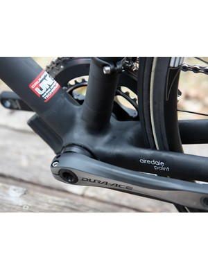 PressFit 30 cups and a modified set of Wheels Manufacturing adapters allow the use of Shimano's Dura-Ace cranks.
