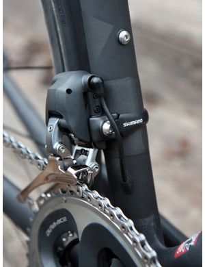 The seat tube is reinforced for the front derailleur clamp.