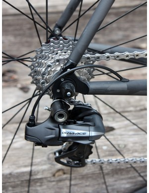 Tidy aluminum dropouts are bonded into the rear end of Crumpton's new SL Road carbon frame.