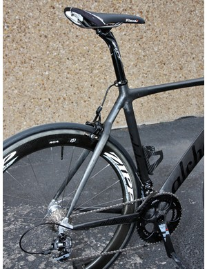 The rear end of Alchemy's new aero bikes continues on with its existing seat and chain stays.