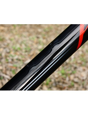 Bottle mounts are neatly contoured into the rest of the tube shape on Kirklee's carbon frames.