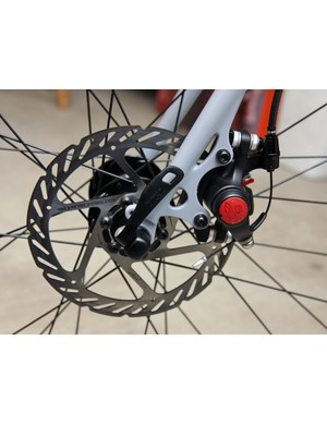 Fork tips are brazed in reverse from the norm to prevent the wheel from ejecting during a hard stop.
