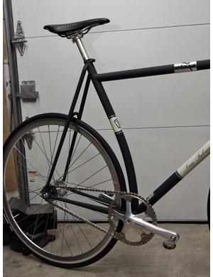 The curved seat tube on this True Fabrication track bike allows for an especially short rear end.