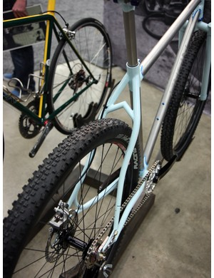 This Engin Cycles stainless steel hardtail includes S-bend stays and a neat seat stay bridge.