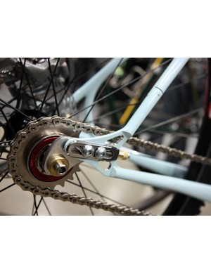 Sliding dropouts and a split seat stay allow for easy tension adjustments on chain or belt-driven singlespeed setups.