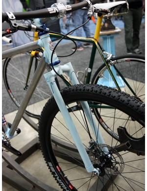An elegant lugged fork adorns the front of this Engin Cycles stainless steel hardtail.