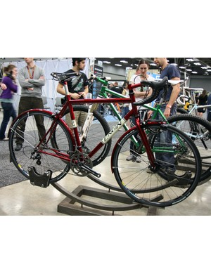 Also on display in the Engin Cycles booth was this beautiful red randoneur bike.