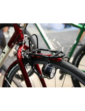 The miniature front rack on this Engin Cycles bike may not be all that useful but it does serve as an elegant mount for the LED front light.