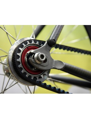 The available slotted dropout on the rear end of the Independent Fabrications Cross Jester carbon 'cross bike can be separated for belt drive use.