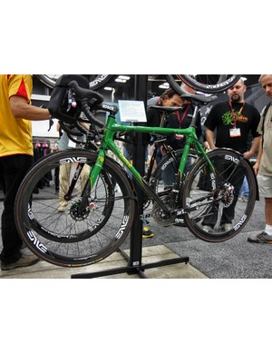 Calfee's Adventurer features extra tire clearances and disc brakes front and rear.