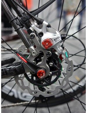 Adding disc brakes to the rear of Calfee's Adventurer frame was relatively easy, requiring just a new non-driveside dropout.