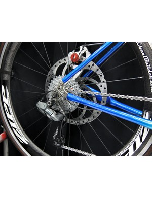 Check out the rotor diameter on this Calfee carbon tandem!  The standard Shimano Dura-Ace Di2 pulley cage is traded out for a mountain cage to handle a wider gear range, too.