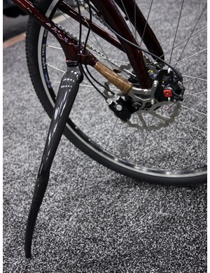 The kickstand began life as a basic Greenfield model but was upgraded with the remnants of an Alpha Q and a Time carbon fiber fork.
