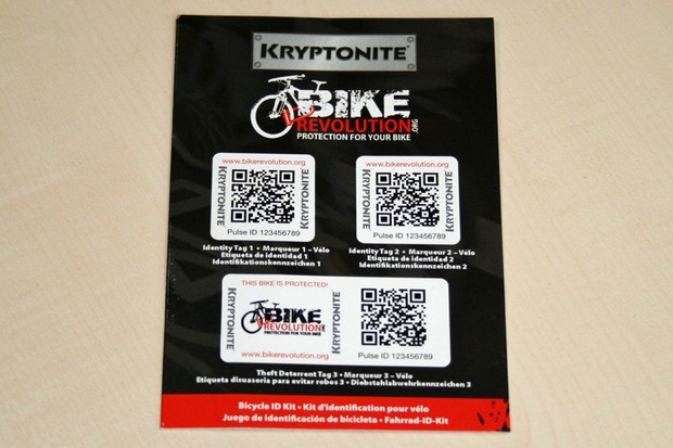 Kryptonite are touting these stickers, along with the online Bike Revolution database, as a way to combat bike theft