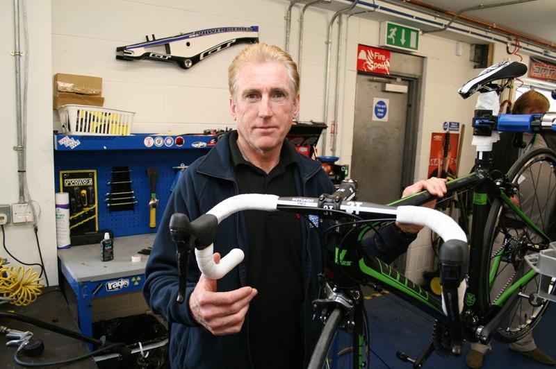 Sean Kelly checks out his new Vitus signature road bike