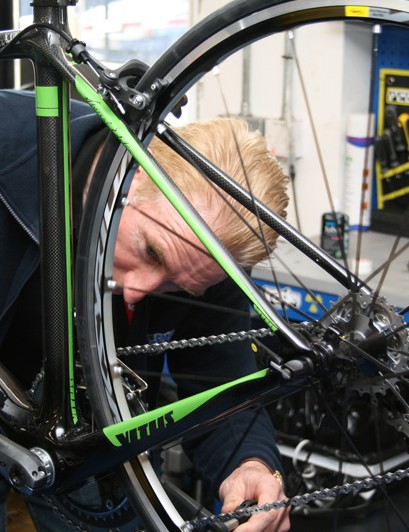 Sean Kelly checks out his new Vitus signature road bike