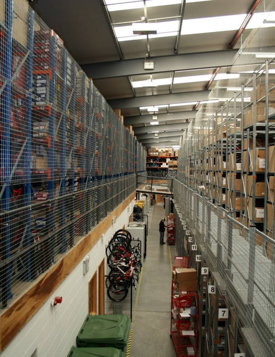 The CRC warehouse is vast – and this is just parts and clothing. Bikes are kept in a separate storage facility a couple of miles down the road