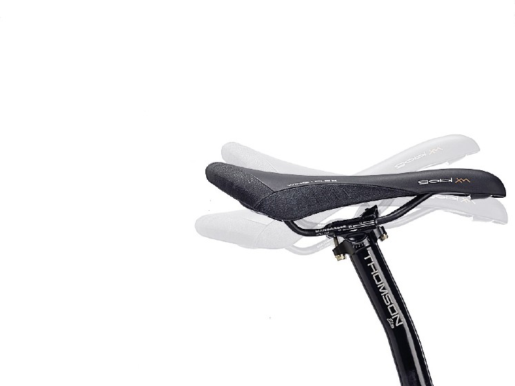 tilting the saddle back can have benefits for downhill, forward can help on climbs