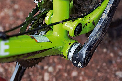 The BB30 bottom bracket shell has adaptors fitted to take a conventional crank, but offers an obvious upgrade path