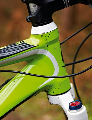 The 1.5in head tube is mainly there to accommodate the Lefty fork on more expensive models, but adds stiffness here