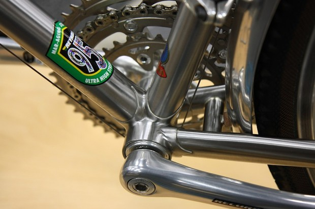 The bottom bracket area on this Dave Anderson Reynolds 953 road bike is awash in gleaming silver