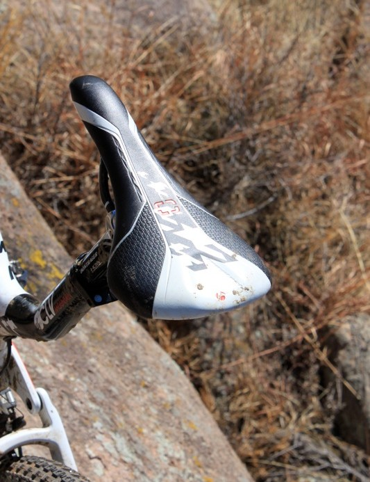 The Evoke 4 saddle comes with carbon rails and Trek World Racing graphics