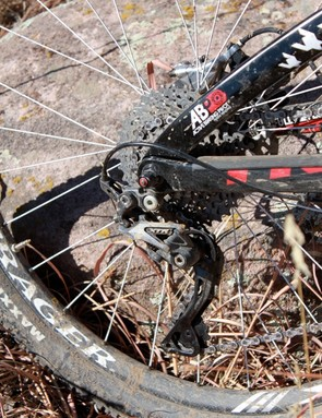 Shimano's XTR shadow derailleur tucks in and out of the way of rocks